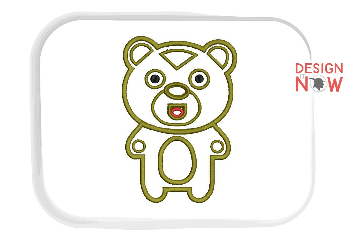 Bear Applique Embroidery Design, Baby Embroidery Pattern example image 1