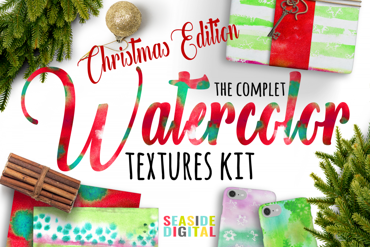 Watercolor Textures Kit - Christmas example image 1