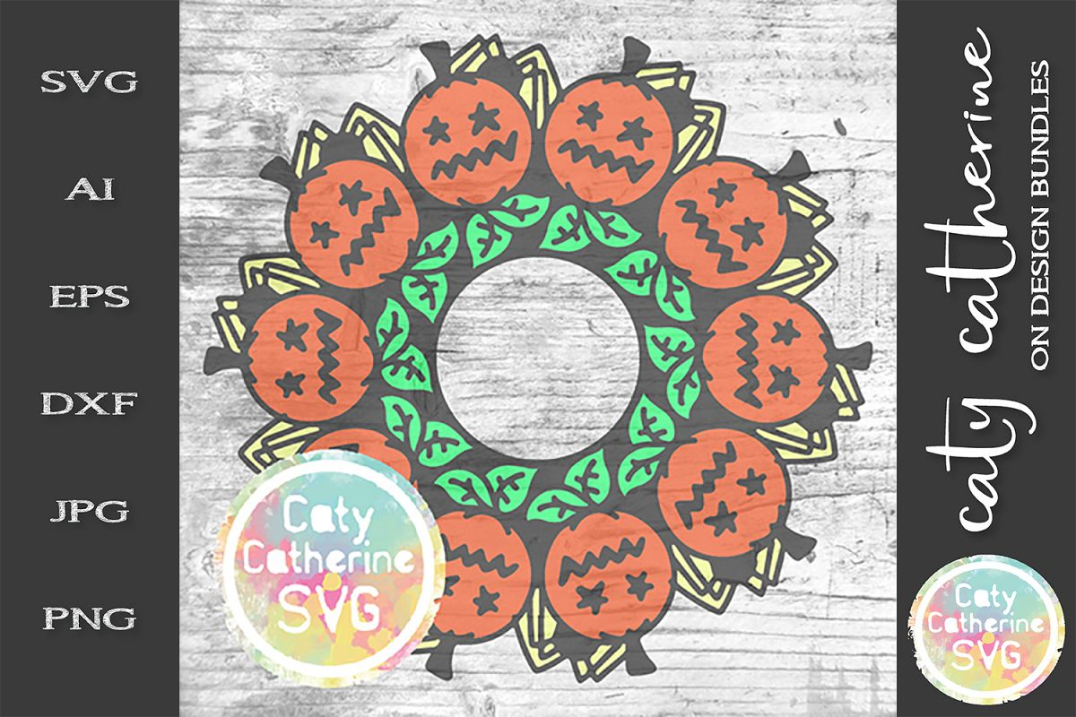 Pumpkin with Leaves And Spiders Monogram SVG Cut File example image 1