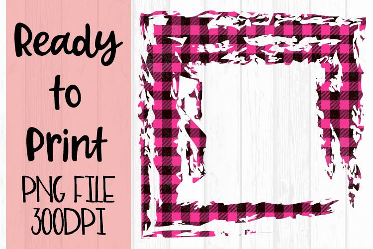 Hot Pink Open Buffalo Plaid Frame Ready to Print example image 1
