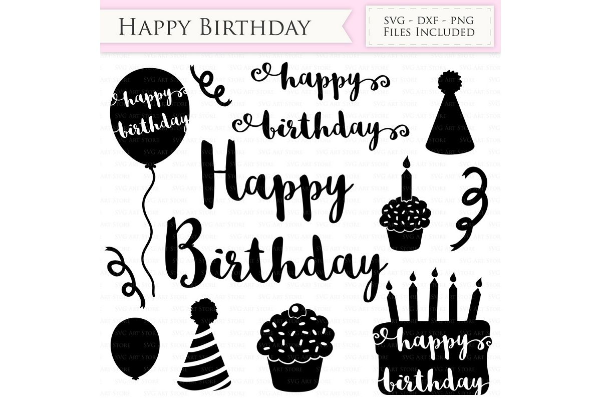 Happy Birthday SVG Files Birthday hat, party balloon, birthday cake svg cutting files Cricut and Silhouette SVG dxf png jpg included example image 1