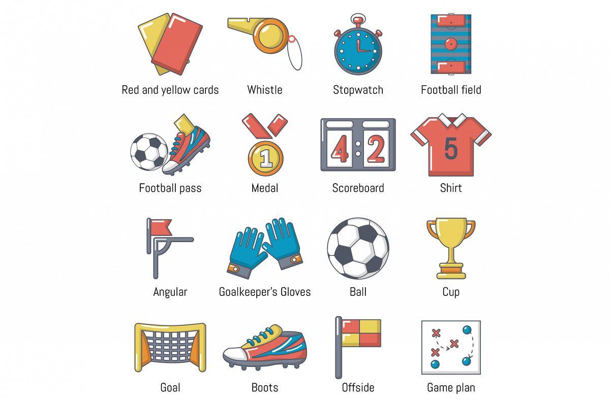 Soccer football icons set, cartoon style example image 1