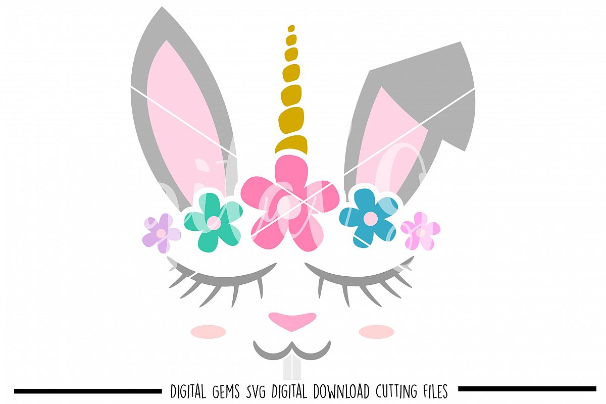 Unicorn Rabbit face SVG / PNG / EPS / DXF Files example image 1