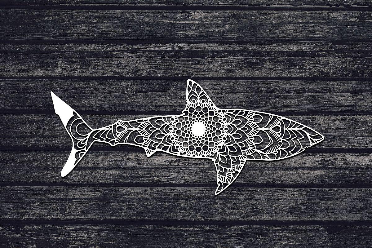 Mandala Shark Svg, White Shark Svg, Mandala Svg, Zentangle example image 1