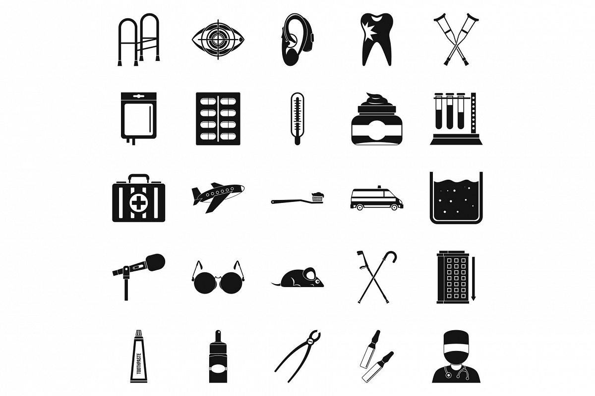 Interest icons set, simple style example image 1