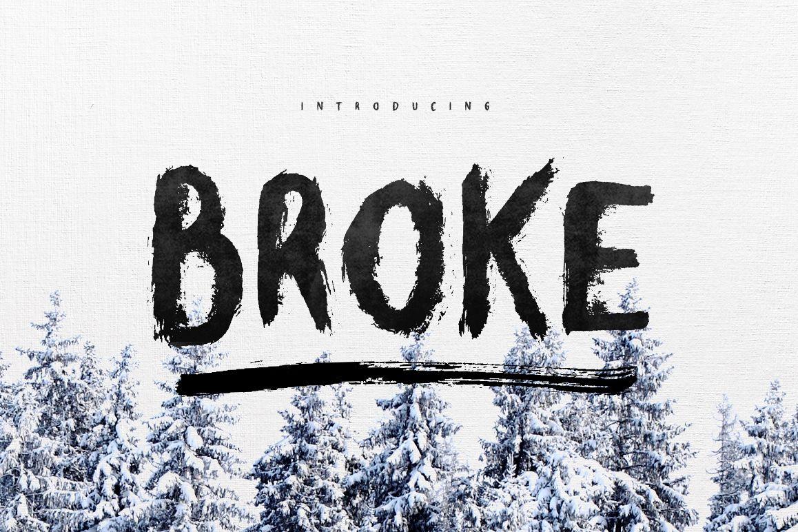 Broke Brush Font example image 1