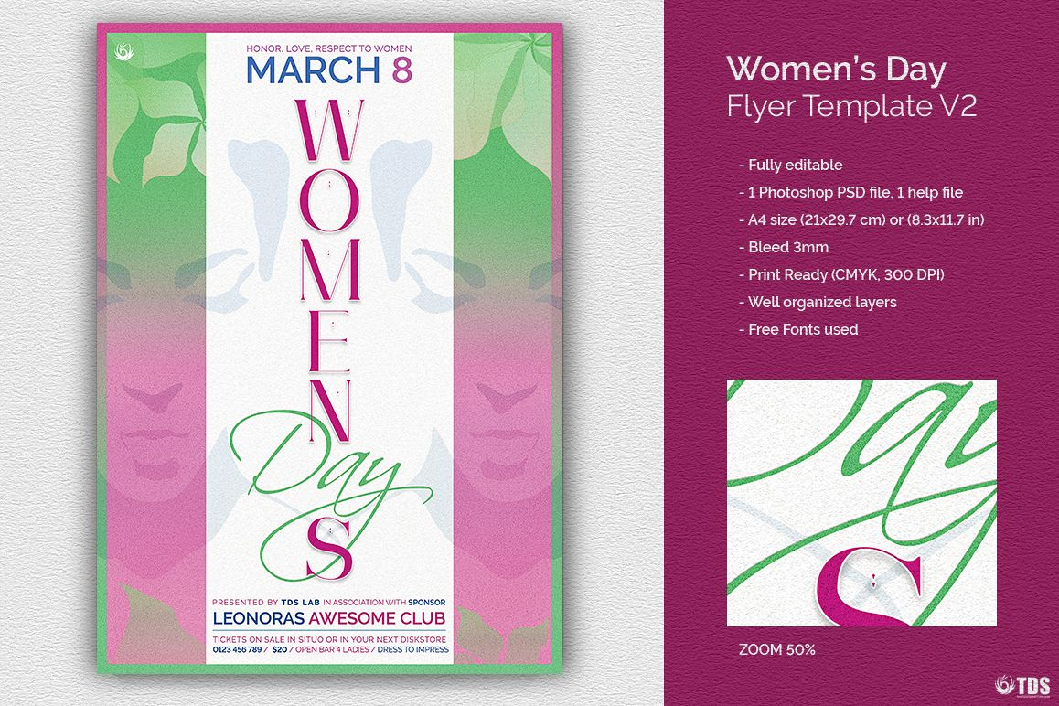 Womens Day Flyer Template V2 example image 1