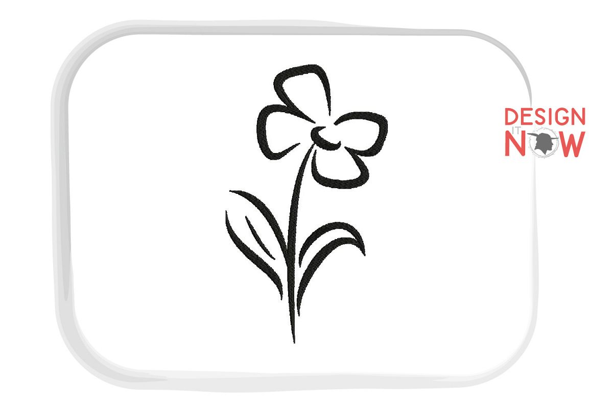 Flower Embroidery Design, Line Art Botanical Embroidery example image 1