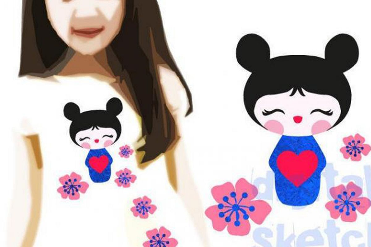 Illustration Kokeshi Heart Love Cut File .SVG .DXF example image 1