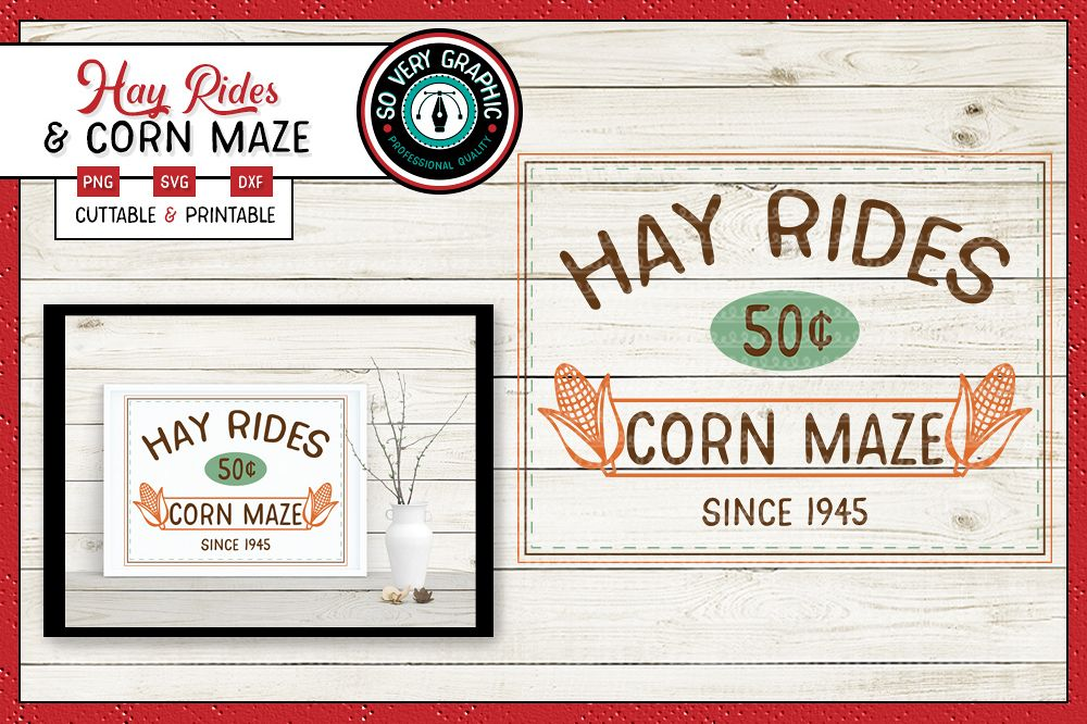 Hay Rides & Corn Maze| SVG | PNG | Printable | Fall | Autumn example image 1