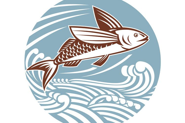 Flying Fish Waves Retro example image 1