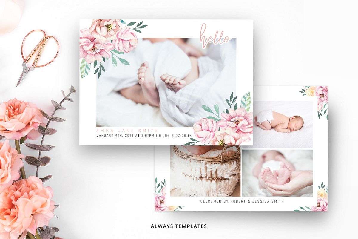 Birth Announcement Template BA011 example image 1