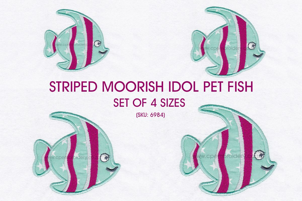 Striped Moorish Idol Pet Fish Applique Design example image 1