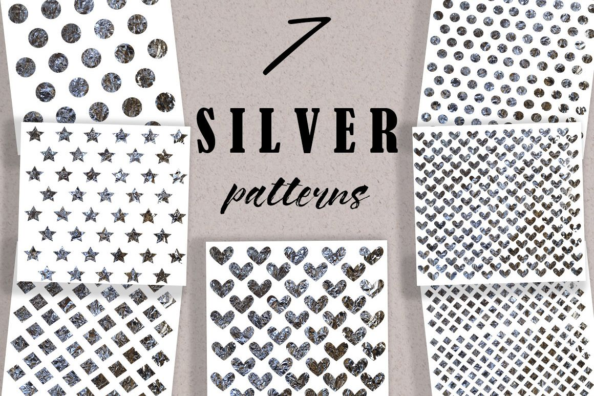 Collection of 7  patterns with silver flicker example image 1