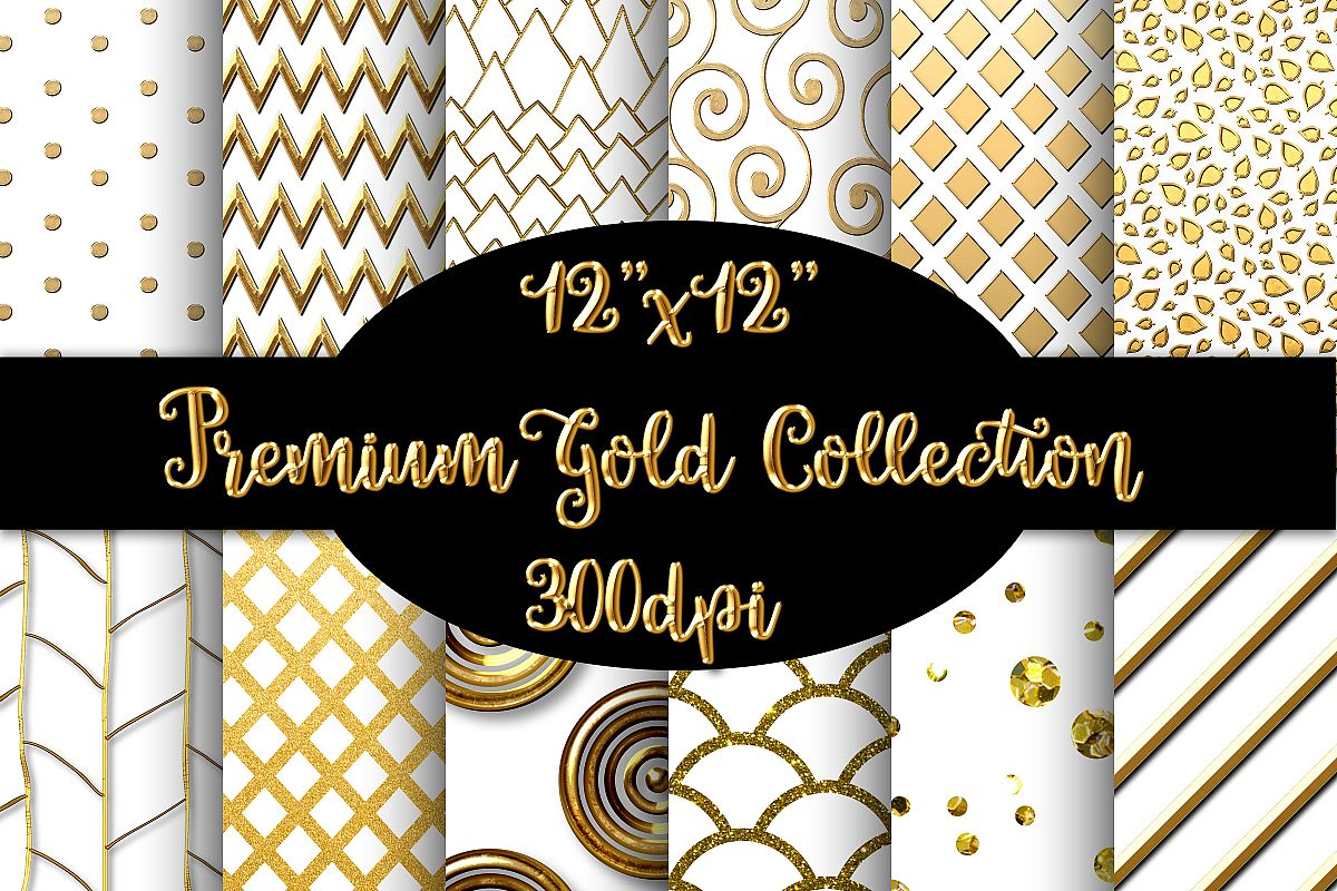12 Premium Gold and White Geometric Patterns example image 1