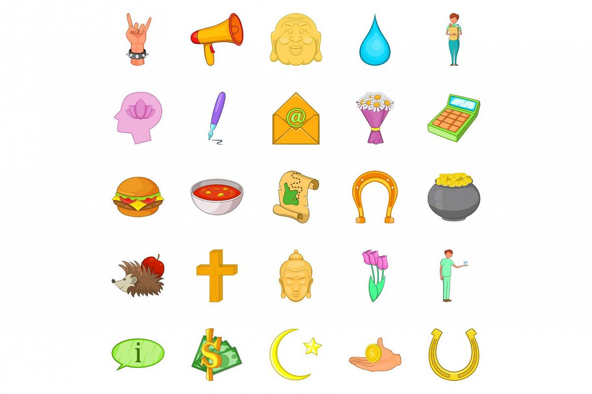 Mercy icons set, cartoon style example image 1