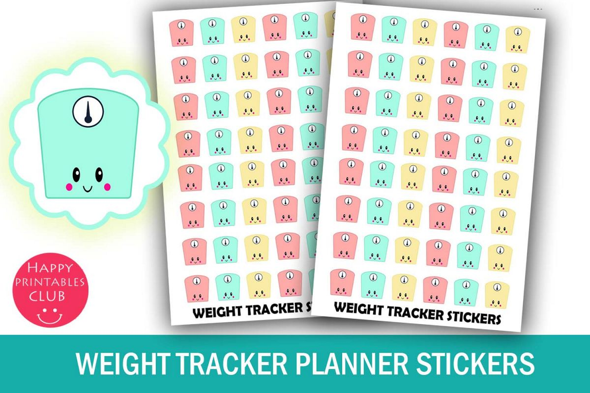 image relating to Weight Tracker Printable titled Excess weight Tracker Planner Stickers- Exercise routine Stickers- Kawaii