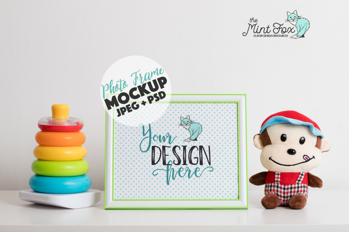 Children Photo Frame Mockup with Toys| Nursery Mock Up example image 1
