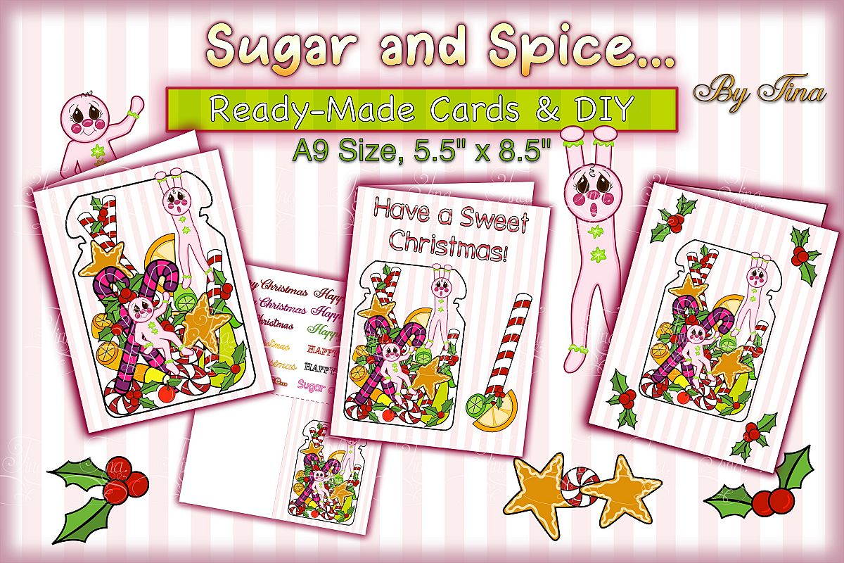 Christmas Card Sugar Spice Pink Gingerbread Men 111218SSGBC example image 1