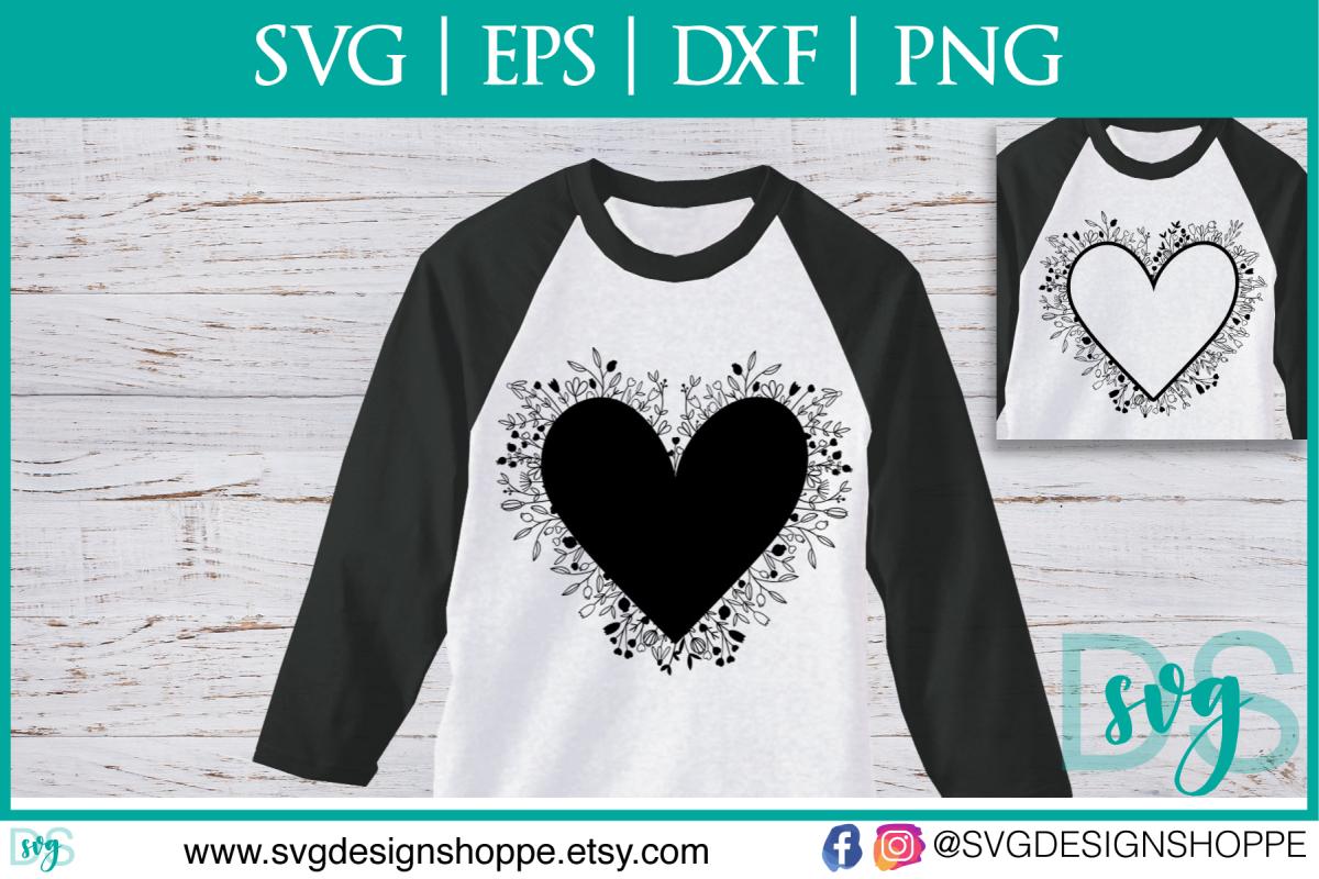 Valentines Silhouette Heart Flower Zentangle DXF SVG