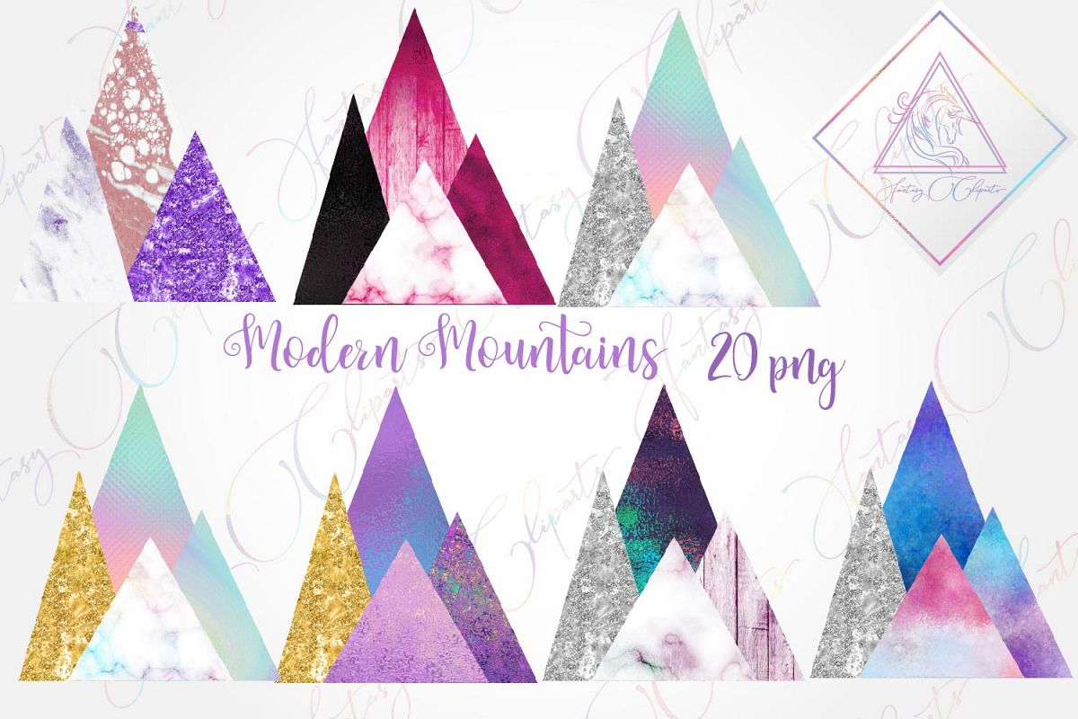 Modern Mountains Clipart example image 1