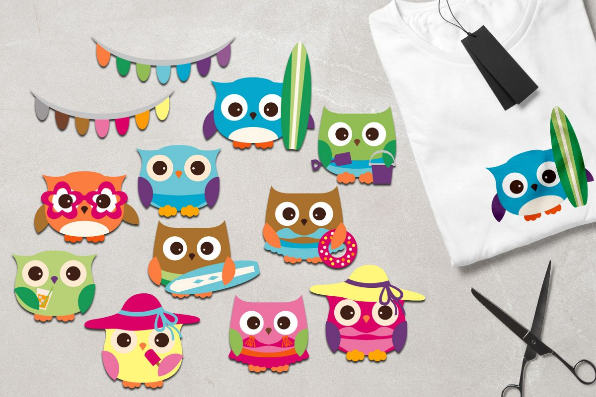 Owl summer. Clipart summertime graphics pastel