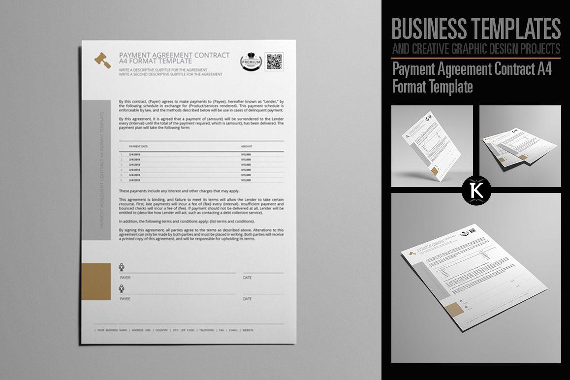Payment Agreement Contract A4 Format Template example image 1