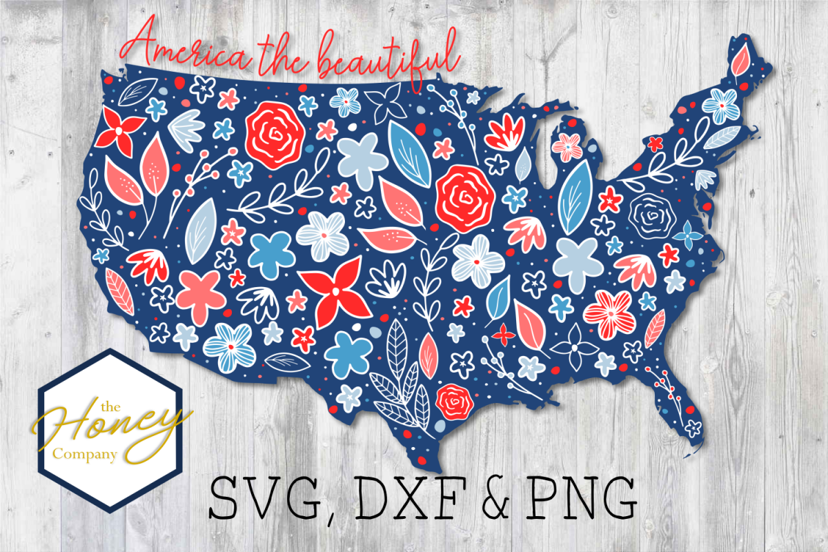 United States of America Floral SVG PNG DXF Cutting File example image 1