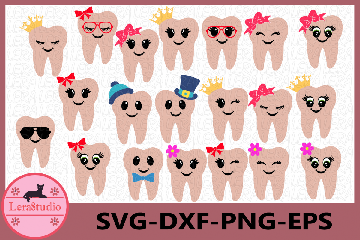 Tooth SVG, Tooth Fairy Svg, Tooth Fairy Bags, Tooth with Bow example image 1