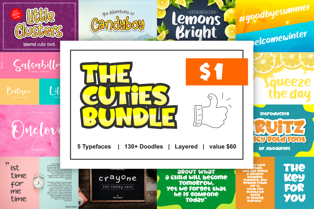 The Cuties Bundle - Fonts with Doodles - example image 1