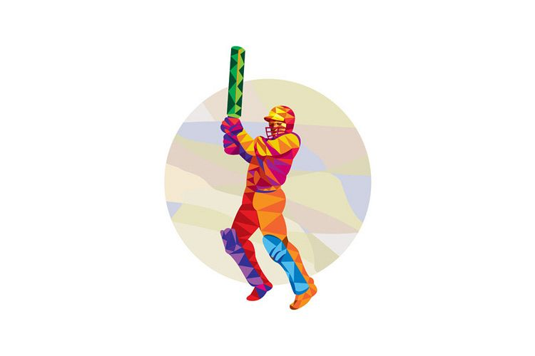 Cricket Player Batsman Batting Low Polygon example image 1