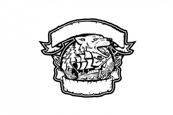 Wolf Pirate Ship Banner Retro example image 1
