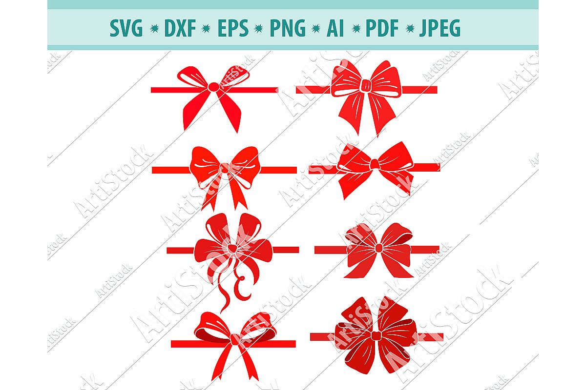 Bow svg, Ribbons svg, Christmas svg, Red bow, Dxf, Png, Eps example image 1