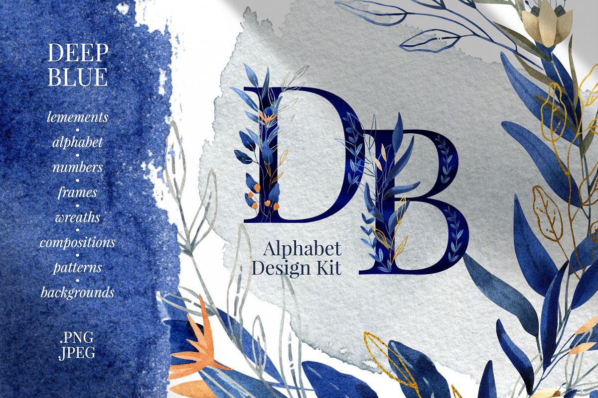 Deep Blue Alphabet Watercolor Design Kit example image 1