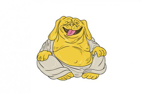 Laughing Bulldog Buddha Sitting Cartoon example image 1