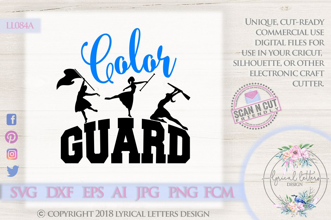 Color Guard Marching Band SVG DXF Cut File LL084A example image 1