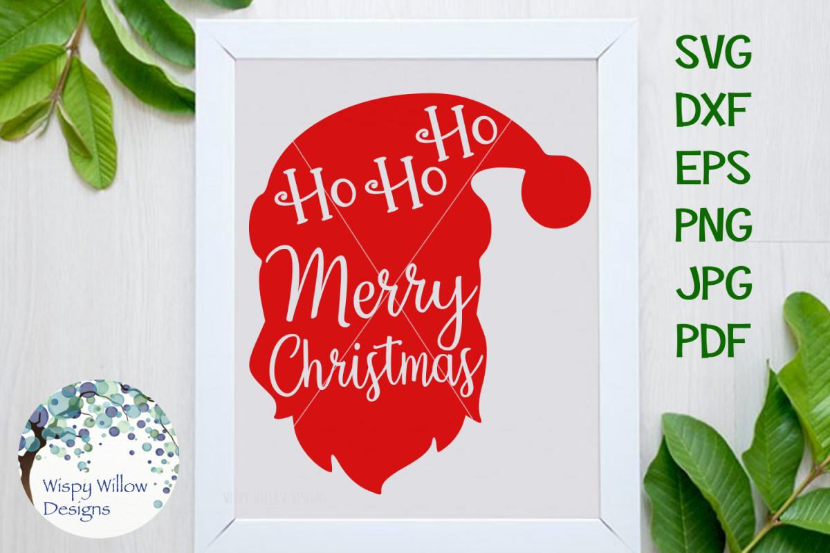 Ho Ho Ho Merry Christmas.Ho Ho Ho Merry Christmas Santa Face Holiday Svg Cut File