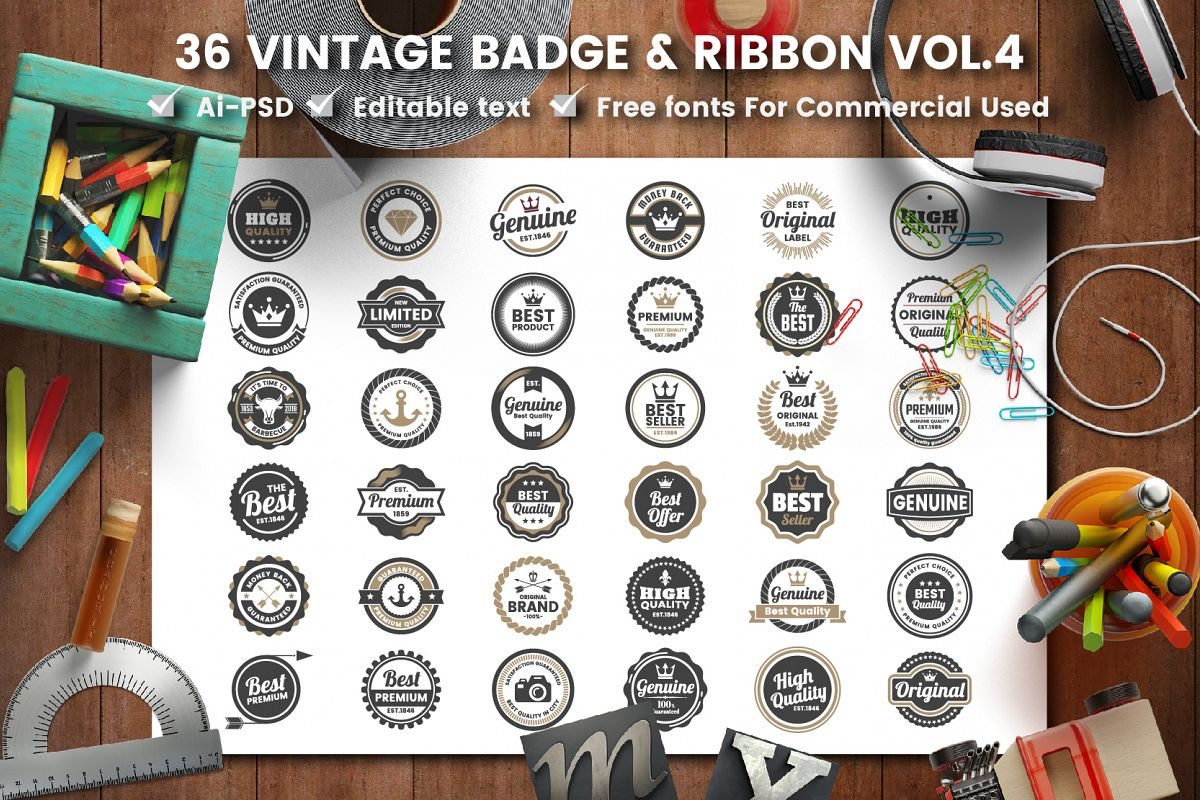 36 VINTAGE BADGE & RIBBON Vol.4 example image 1