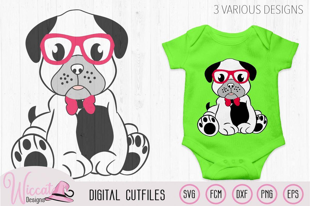 Boy pug svg, Hipster pug svg, pug svg, pug glasses svg, example image 1