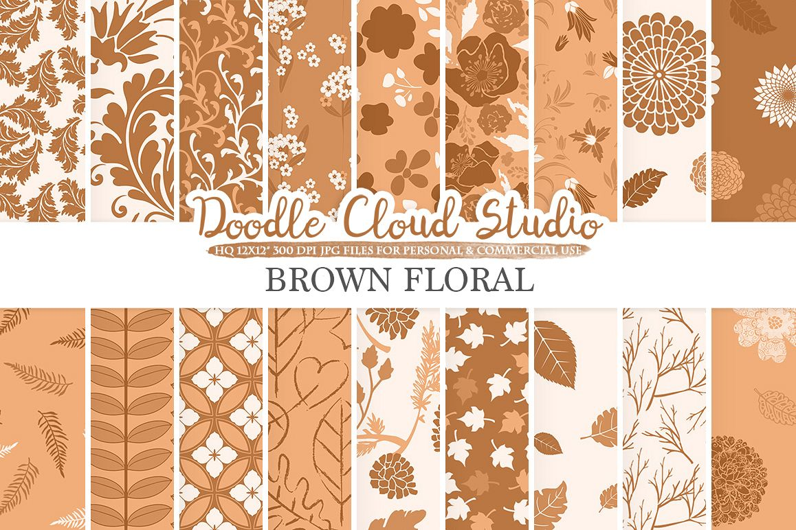Brown Floral digital paper, Brown Floral pattern Flowers Dhalia Leaves Damask Calico background, Instant Download, Personal & Commercial Use example image 1