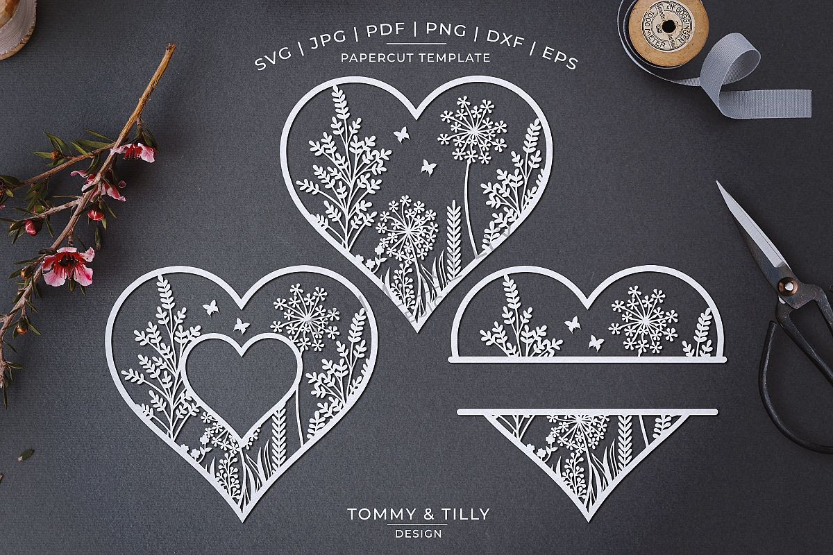 Meadow Heart x 3 - Papercut Template SVG EPS DXF PNG PDF JPG example image 1