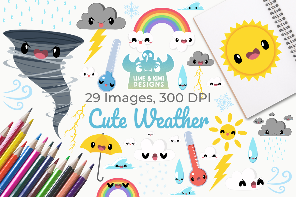 Cute Weather Clipart, Instant Download Vector Art example image 1