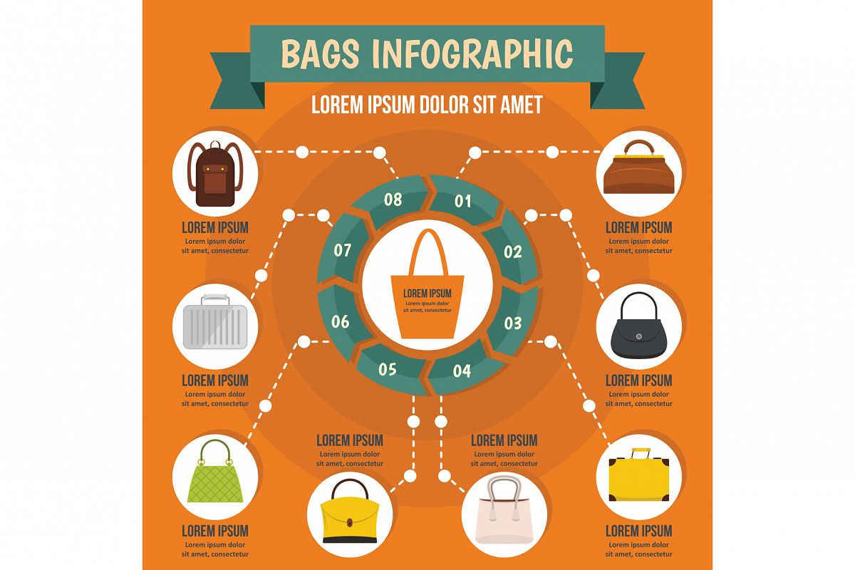 Bags infographic concept, flat style example image 1