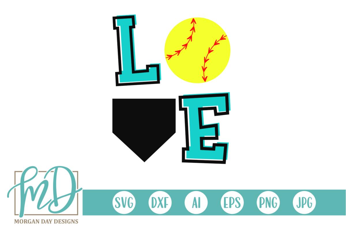 Softball Love - Love Softball SVG, DXF, AI, EPS, PNG, JPEG example image 1