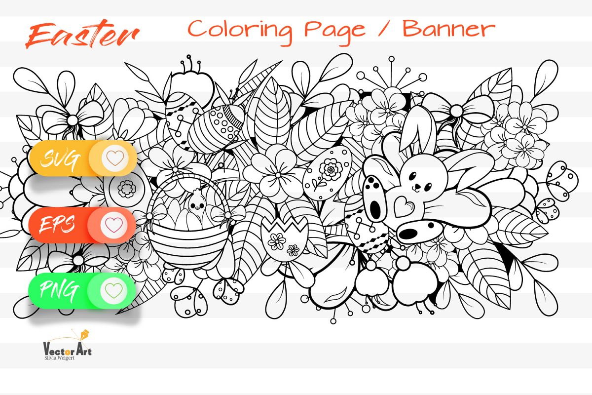 Easter Banner - Cut File and Coloring Page example image 1