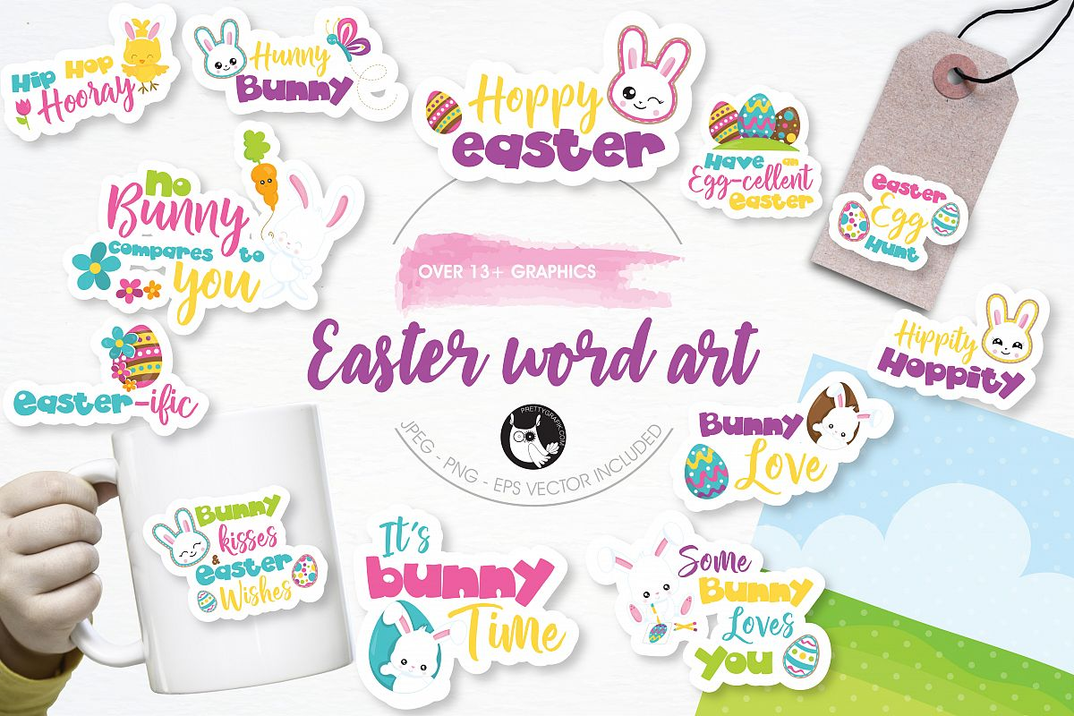 Easter word art graphics and illustrations example image 1