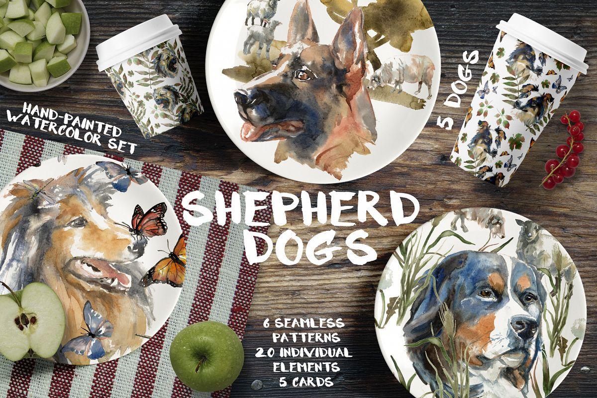 Shepherd dogs watercolor set example image 1