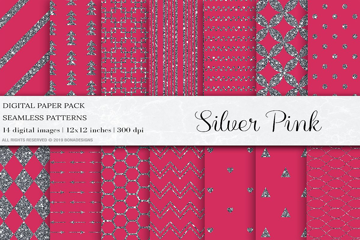 Pink Silver Seamless Patterns, Silver Wedding Digital Papers example image 1