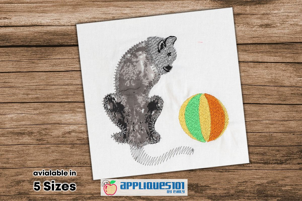 Cat and Ball Machine Embroidery Applique Design - Cats example image 1