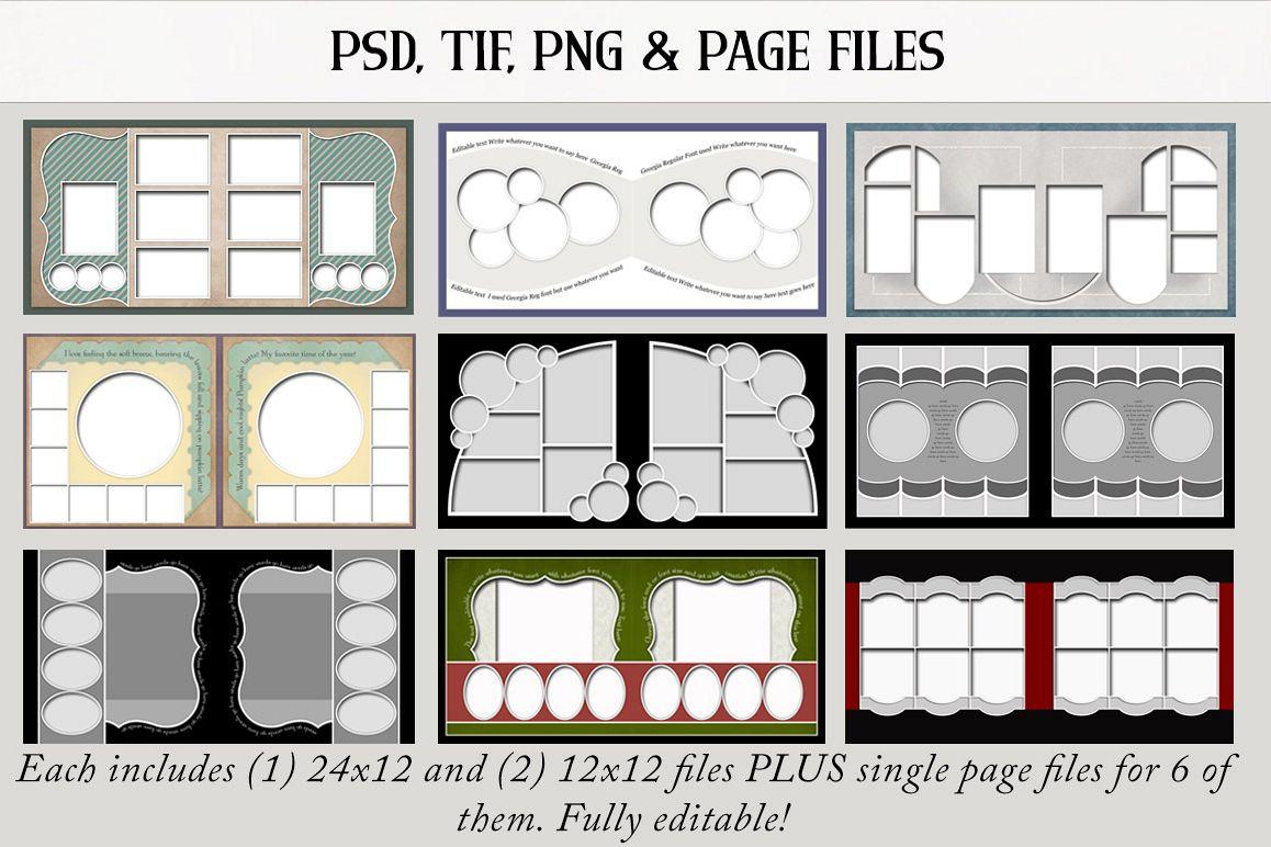 Digital Scrapbook Templates Bundle 3 example image 1